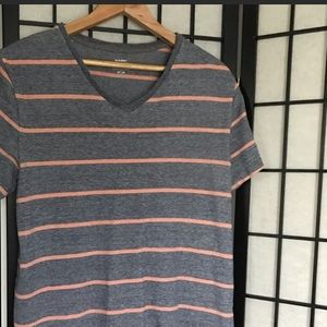 Men's Old Navy Grey & Orange V-neck Shirt